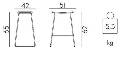 Medidas taburete Tao de 65
