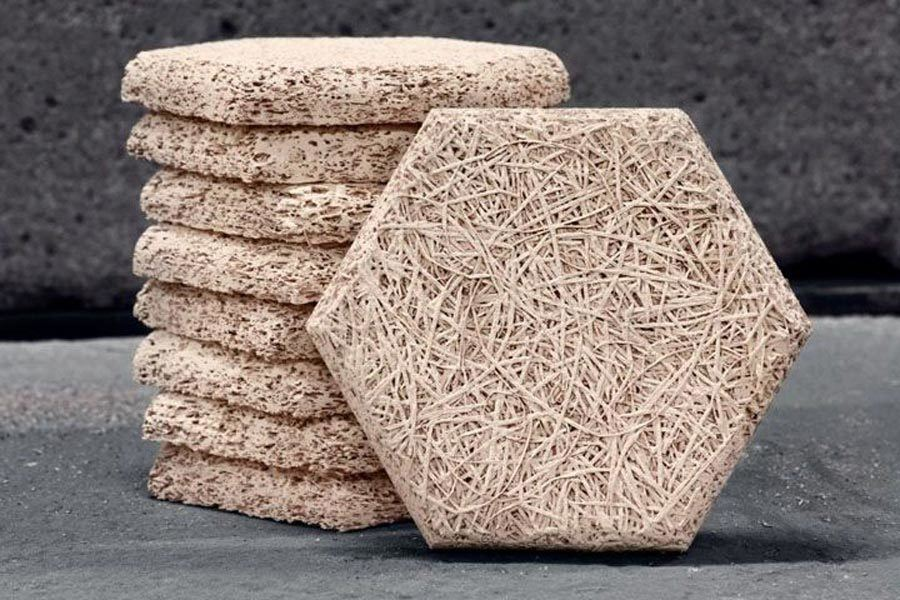 Hexágonos de lana de madera