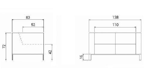 Medidas sofá Quatro 2 R3 2 plazas