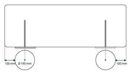 Esquema paneles acústicos móviles Madison 2 bases