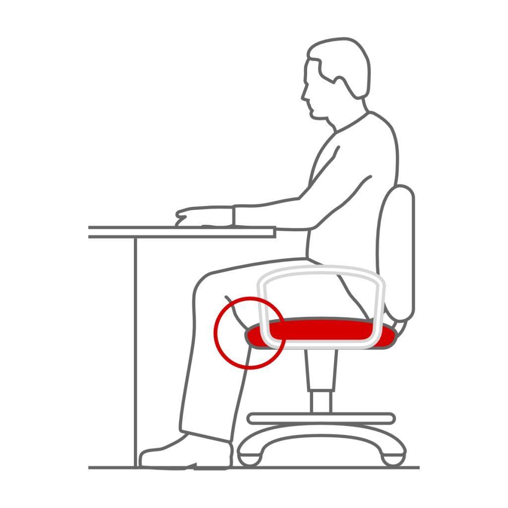 Borde suavizado en la silla ergonómica