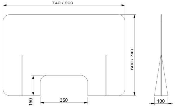 medidas mampara mostrador-transparente con ventana