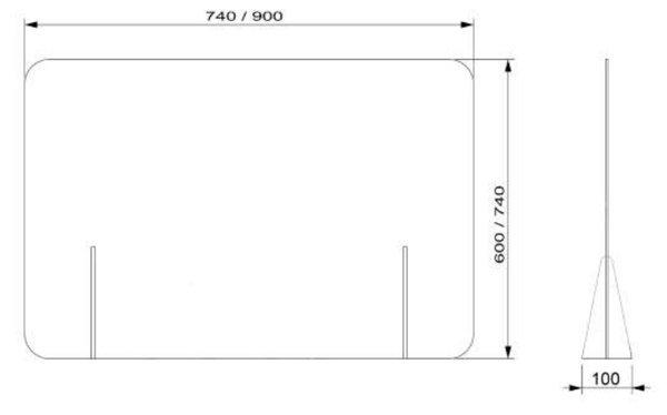 medidas mampara mostrador-transparente sin ventana