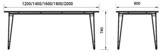 Medidas mesa Wire de Famo