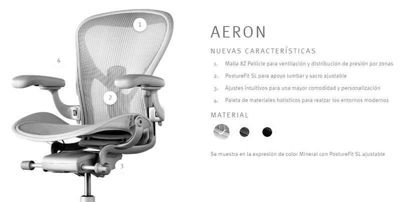 Novedades técnicas de la nueva Silla Aeron