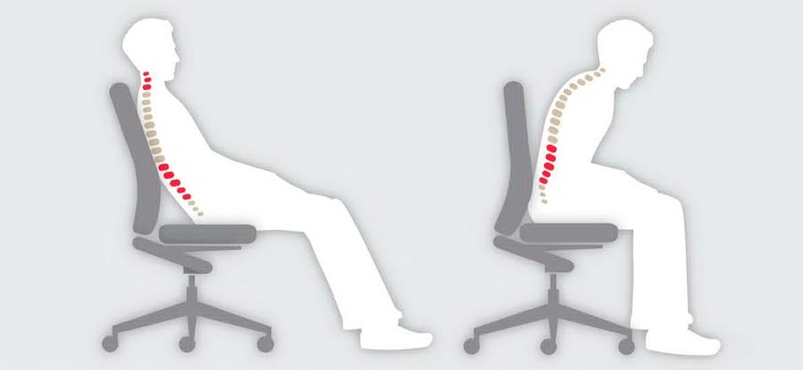 Mala postura en la silla de oficina