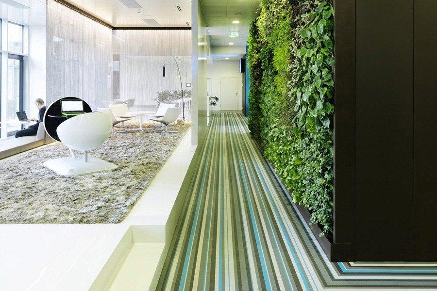 el diseño biofilico color en la oficina