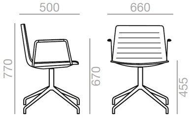 Medidas sillón Flex tapizado con brazos