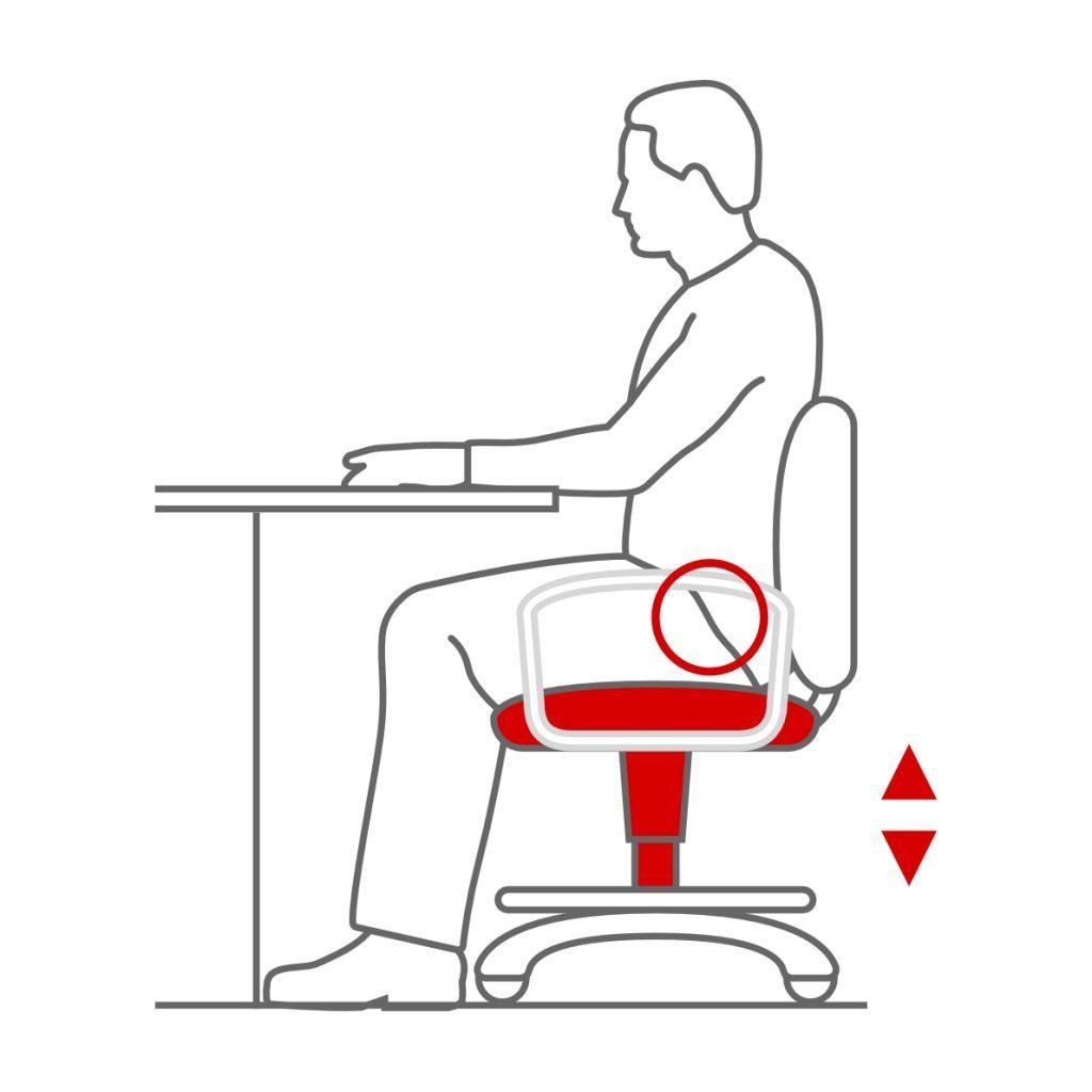 Asiento regulable en altura en la silla ergonómica