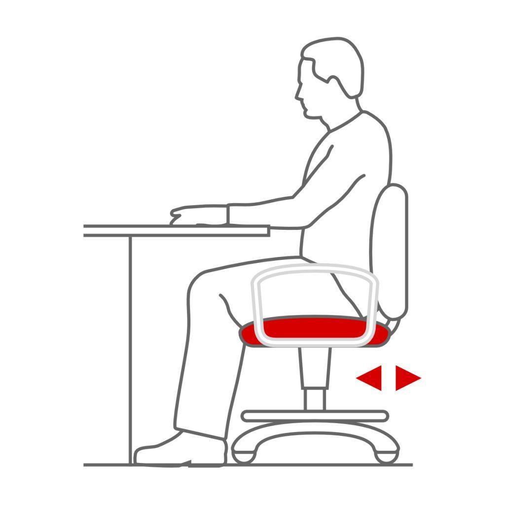 Asiento regulable en profundidad en la silla ergonómica