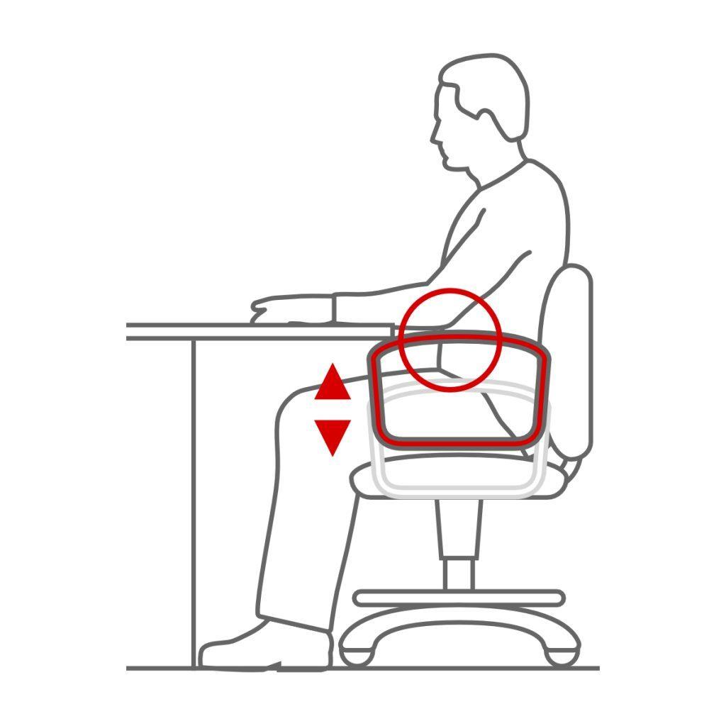 Reposabrazos en la silla ergonómica