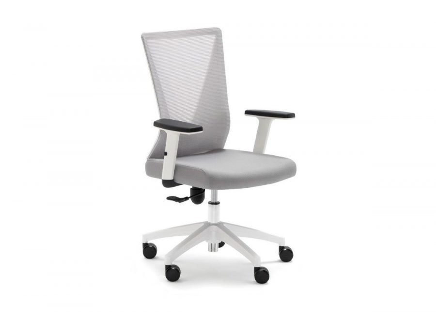 Silla Home Office blanca con tapizado gris