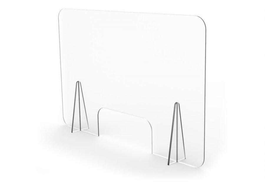 Mampara mostrador transparente con ventana