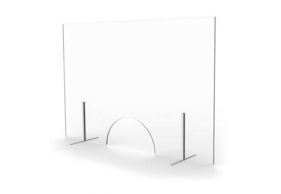 mampara mostrador vidrio con ventana