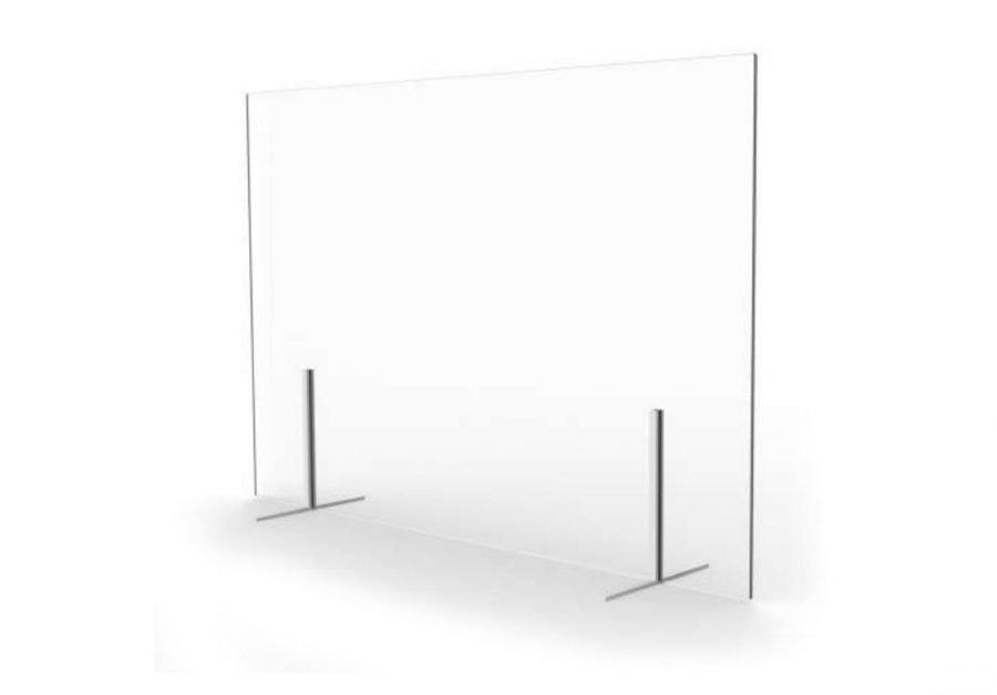 Mampara mostrador vidrio sin ventana