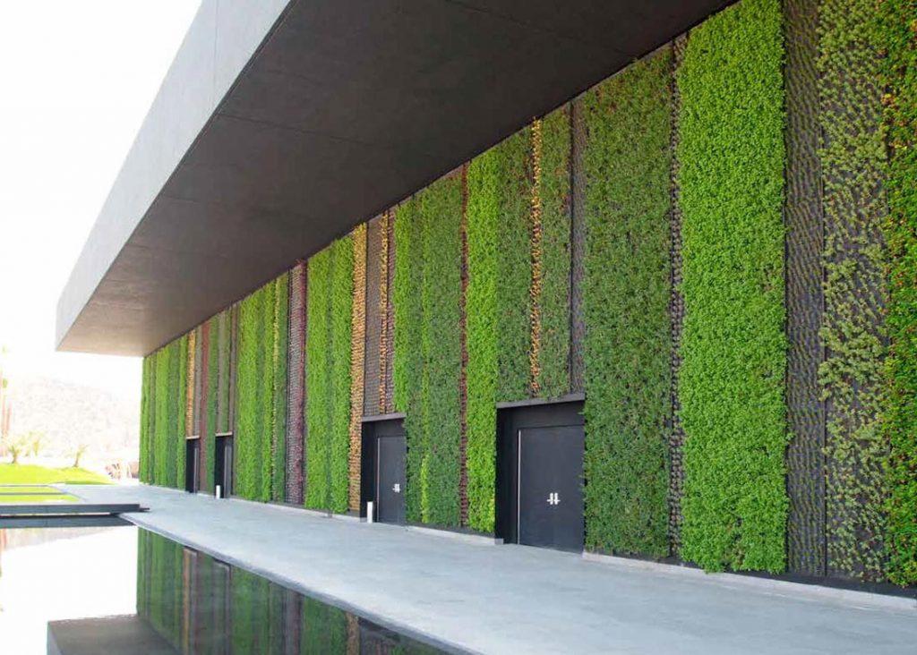 Jardín vertical en exterior de empresa