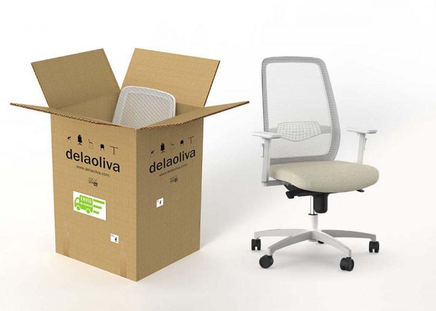 silla peper blanco operativa de oficina en caja