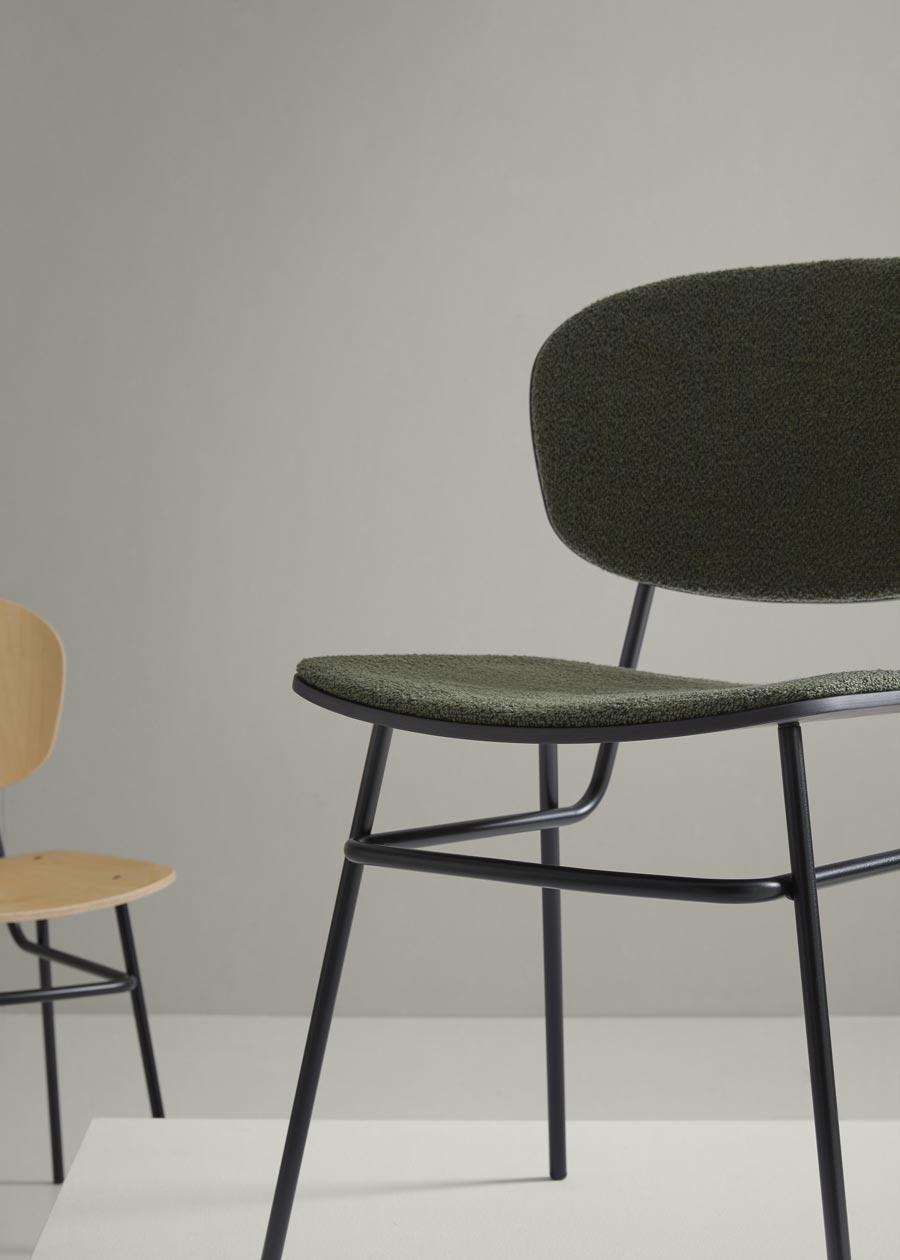 colección silla fosca tapizada negro