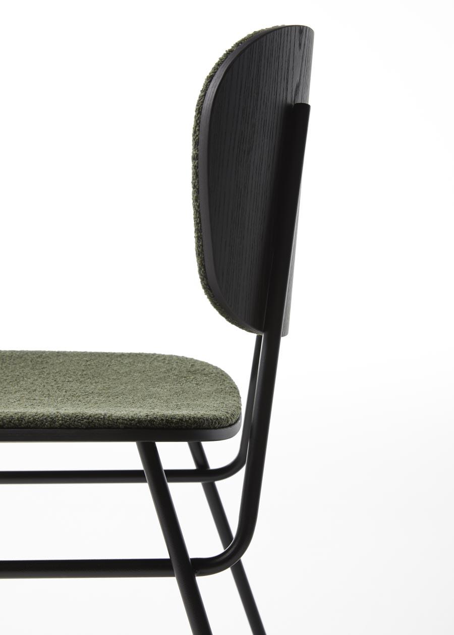 Detalle respaldo silla fosca tapizada fresno negro