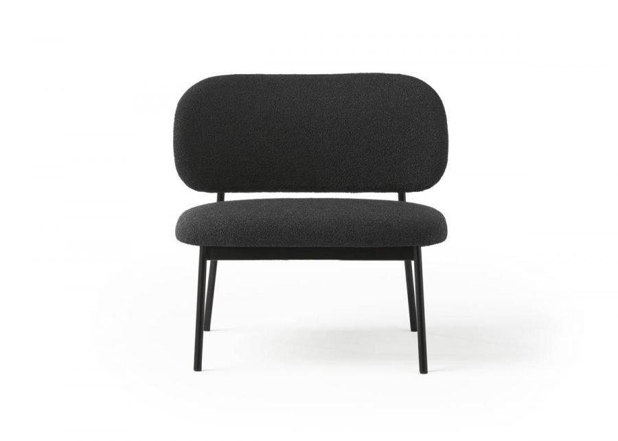 frontal lobby chair RC metal tapizado negro