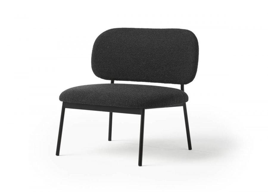 lobby chair RC metal tapizada negra
