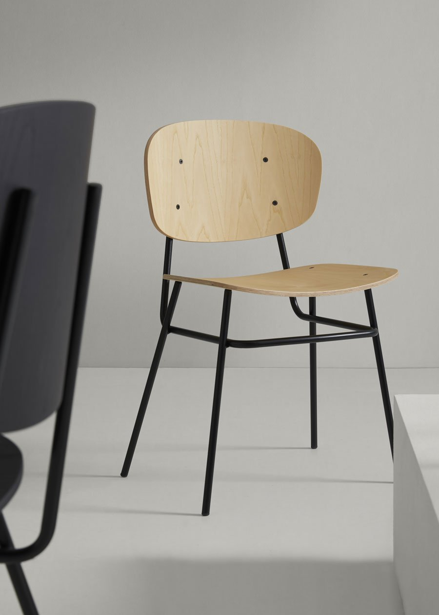 silla fosca madera fresno natural estructura negra