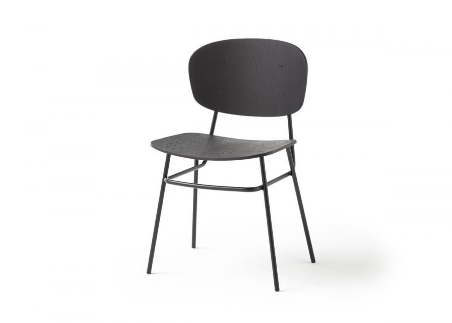 silla fosca madera fresno negro 4 patas