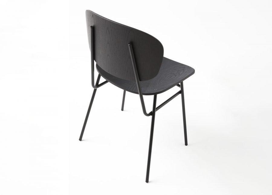 silla fosca madera fresno negro trasera