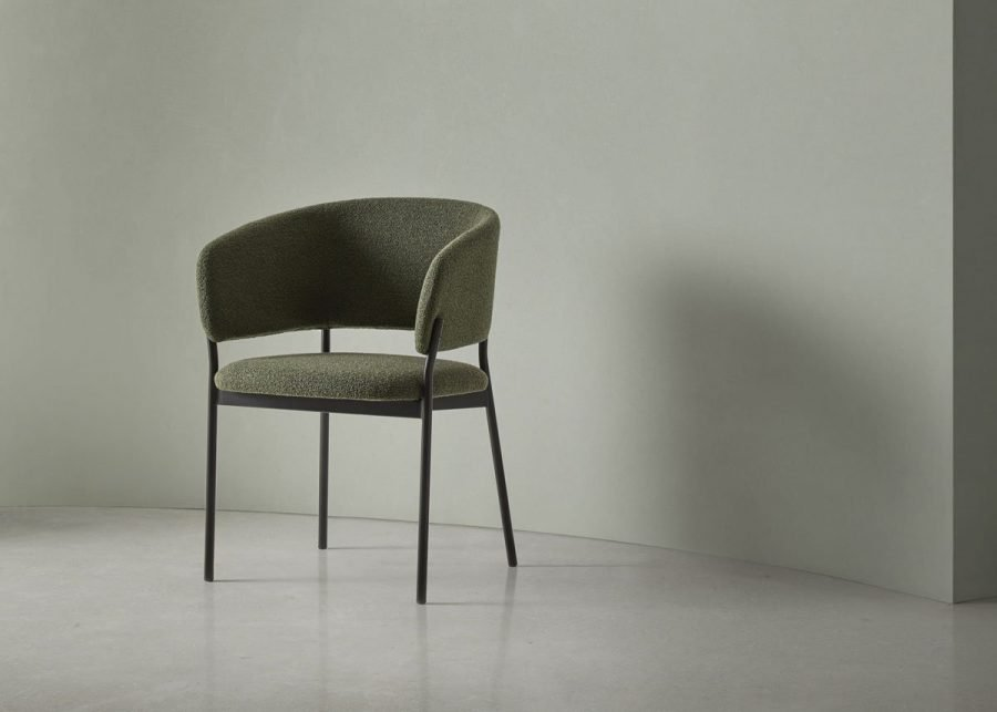 silla RC metal con brazos tapizada