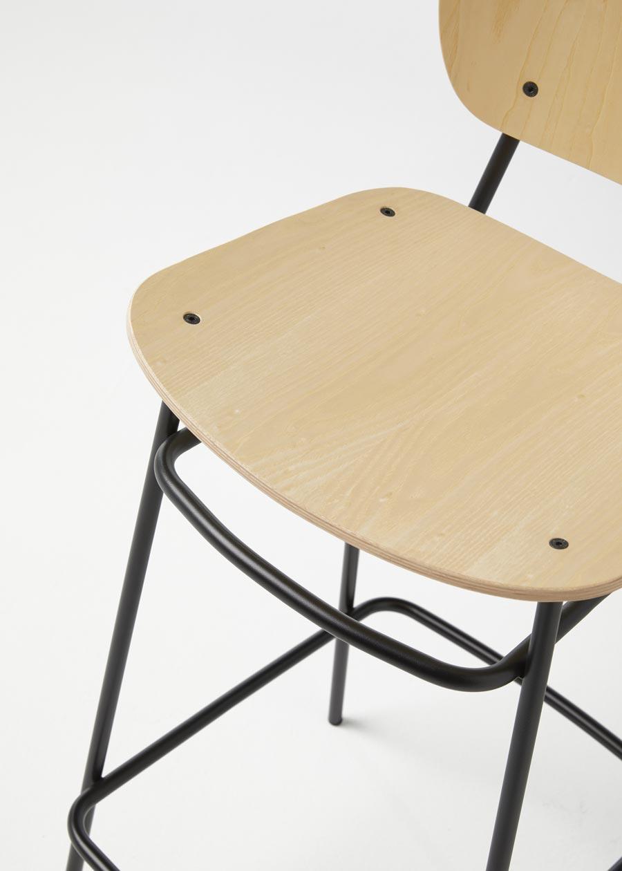 taburete fosca metálico fresno natural detalle asiento