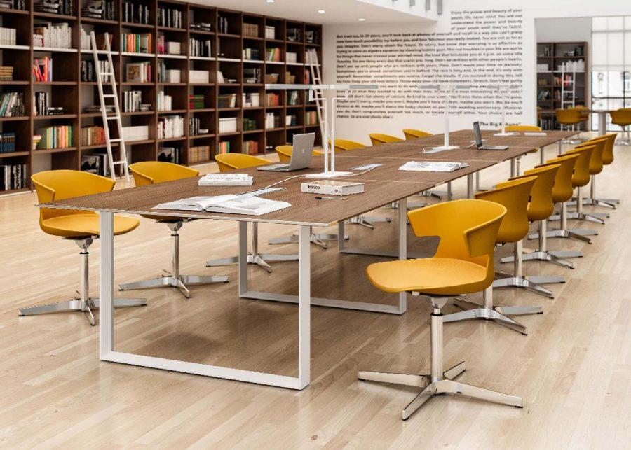 mesa x7 reuniones patas color blanco