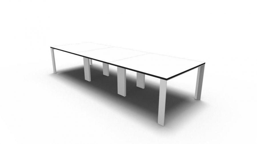 Mesa reunión UM 240 blanco canto negro