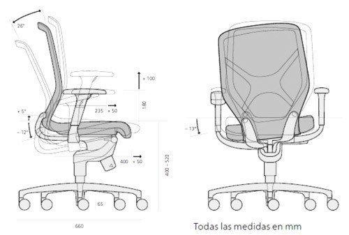 Silla in 184 7 ofival equipamiento de oficina - Medidas silla ...